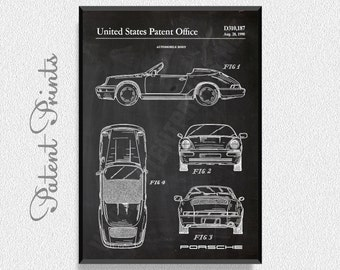 Porsche Patent Print, Automobile Art, Garage Decor, Man Cave Decor, Boys Room Wall Decor, Porsche 911