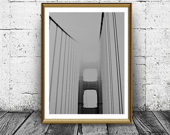 Bridge Photo, Bridhe Print, Black And White Wall Art, Minimal Bridge Poster, Housewarming gift, Abstract Bridge in Mist, Mystical Bridge