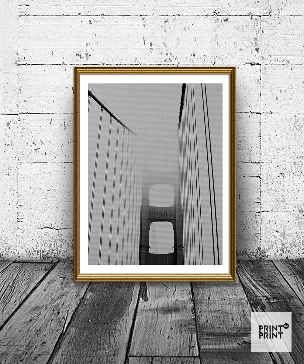 Bridge photo bridhe print black and white wall art minimal for Minimal art wall