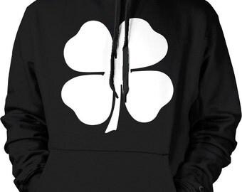 White Four Leaf Clover, St. Patrick's Day, Shamrock, Lucky Irish Hooded Sweatshirt, NOFO_00115
