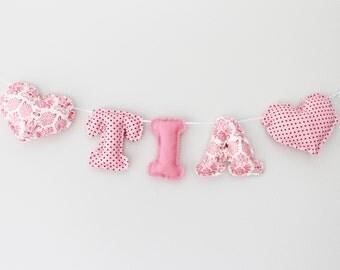 Personalised Name Bunting - TILDA PINK DAMASK