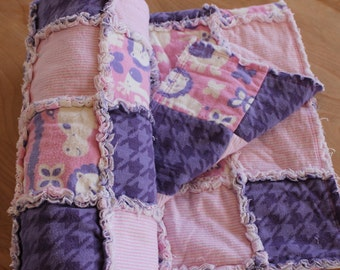rag quilt, baby quilt, baby rag quilt, purple and pink baby blanket, baby blanket, pink and purple baby blanket, CJS102