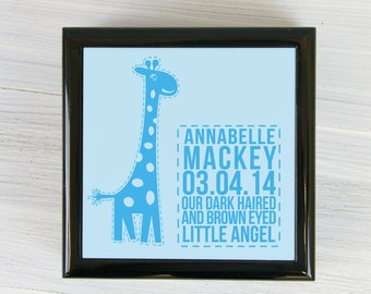 Personalised Giraffe Baby Keepsake Box