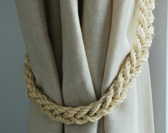 Handmade Rustic Nautical Sisal Rope Curtain Tiebacks / Nautical nursery/ curtain tie-backs/ hold backs/ boho decor/ coastal beach decor