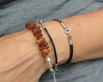 Leather Sterling Silver Baltic Amber  Bracelet with Amber Raw Amber  Polish Baltic Amber Natural Leather
