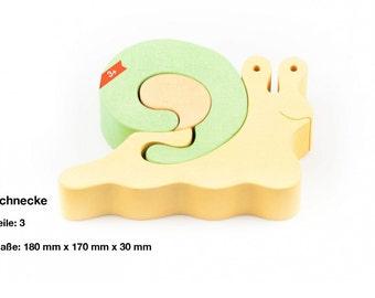 Wooden puzzle snail