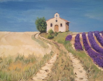 Large Original Oil Painting, France landscape in Provence lavender fields, Impressionist style
