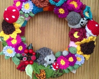 Crochet Decorative Woodland Wreath