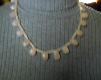 Vintage Rose Quart 925 Necklace #366