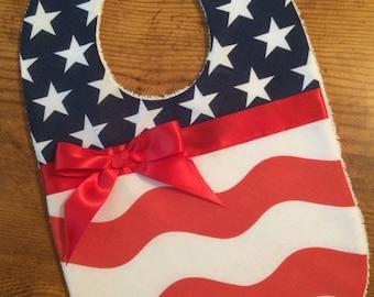 Forth of July Bib, Stars and Stripes Baby Bib, Patriotic Bib, Red White & Blue Baby Bib, Baby Shower Gift Girl Bib, Independence Day Bib