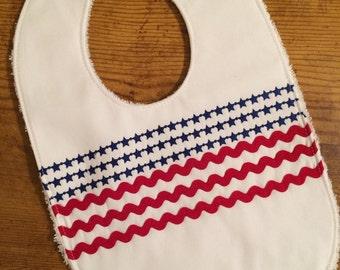 Stars and Stripes Bib, Red, White & Blue Baby Bib, Baby Shower Gift,  July 4th Bib, Forth of July Baby Bib, Patriotic Baby Bib, Independence