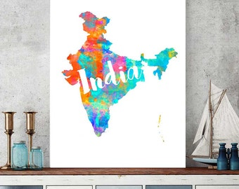 India Map Print, Printable Map Of India, Wall Art Decor, Watercolor Map Print, Indian Gift, Instant Download