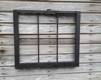 Black antique sash window frame