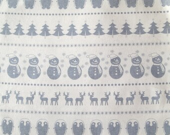 Scandinavian fabric - snowman - penguin - Christmas fabric - 100% Cotton fabric - Quilting fabric - Christmas material - scandi -grey fabric