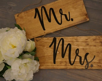 Mr. & Mrs. Wedding Chair Sign