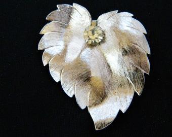 "Vintage Leaf Pendant Dress Scarf Clip Slide Rhinestone Signed Lieba USA Silver Tone Fall Autumn Mid Century Costume Jewelry 1.75"""