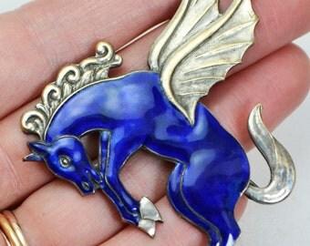 Vintage Large Cobalt BLUE Enamel Art Deco Pegasus FLYING HORSE Unicorn Brooch