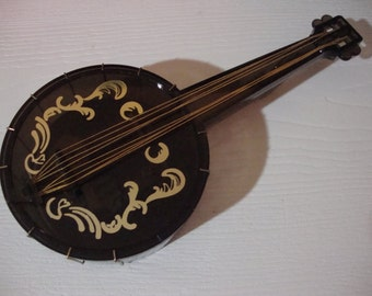 """Vintage Musical Banjo Music Box In Original Packaging  Plays """"Rose Garden""""  Made In Hong Kong"""