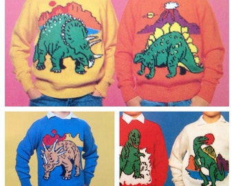 Vintage Pattern Dinosaurs Jumpers adults and childrens Knitting Patterns PDF Download