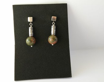 Unique earrings, silver and green moss agate