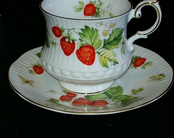 Vintage Queens Virginia Strawberry Teacup and Saucer
