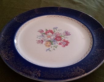 Vintage French Saxon China Co. Floral Center Plate