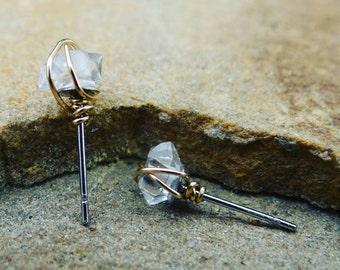Herkimer Diamond, Stud Earrings, Small Herkimer, Diamond Earrings (Gold Filled, Rose Gold Filled and Sterling Silver)