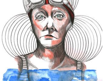 Woman swimmer blue sea original illustration