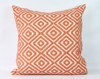 Coral throw pillow case 20x20 decorative boho pillowcase 24x24 euro sham 26x26  pillow cover 26x26 orange white pillow shams 18 inch pillow