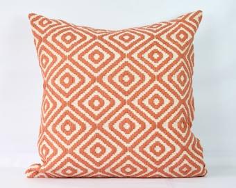 Coral throw pillow case 20x20 decorative boho pillowcase 24x24 euro sham 26x26  pillow cover 26x26 orange white pillow shams 18 inch pillow