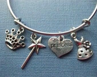 Princess Bangle - Princess Charm Bracelet - Princess Jewelry - Charm Bracelet - Bangle - Princess Jewelry -- B121