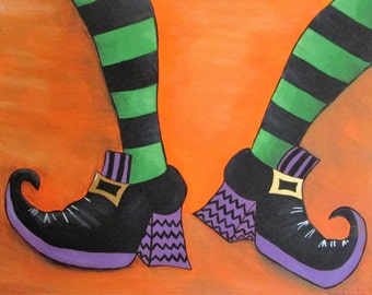 "Dancing Witch Feet - 14"" x 11"" Acrylic on Stretched Canvas"