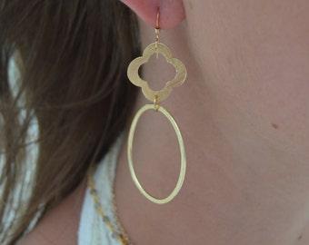 Gold Quatrefoil Hoop Earring