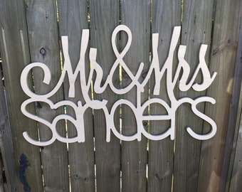 Mr & Mrs Hanging Sign - Wedding Decor - Engagement Pictures