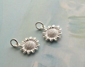 2 pcs sterling silver sunflower charm flower daisy pendant