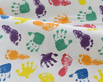 White Cotton Knitted Fabric - Footprint and Handprint - 50cm x 170cm JJ359