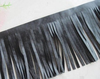 Black Synthetic Leather Fringing Trim one yard long