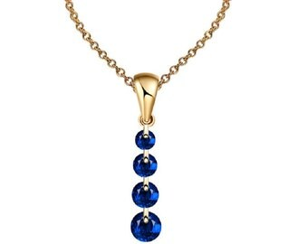 Charming Crystal Long Water Drop Necklaces & Pendant Statement Necklace for Women (Blue)