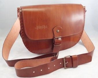 Handcrafted Satchel High Quality Italian Vegetable Tanned Cow Leather Cuoio– Cross-Body Bag – Made in Italy