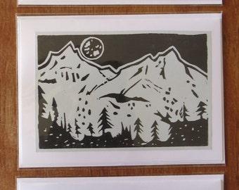 Mountain Range lino card