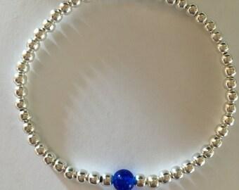 Handmade Sterling Silver plated bead bracelet with blue (Saphire) glass bead September Birthday Handmade in the UK
