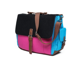 Tri-Color Canvas Messenger Bag in Black/Blue/Pink (SS703)