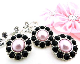 Pink Acrylic Pearl Buttons W/ Black Surrounding Rhinestones Buttons DIY Embellishments Wedding Coat Buttons 25mm 2997 2P 1R