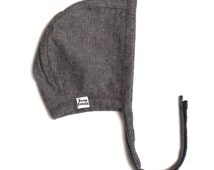 Baby Bonnet in Grey Flannel - winter bonnet, baby flannel bonnet, modern bonnet, baby hat, baby shower gift, reversible bonnet, toddler hat
