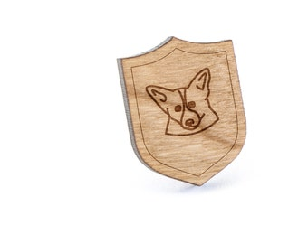 Corgi Lapel Pin, Wooden Pin, Wooden Lapel, Gift For Him or Her, Wedding Gifts, Groomsman Gifts, and Personalized
