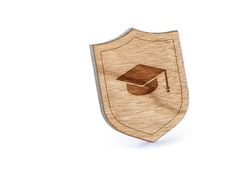 Graduation Cap Lapel Pin, Wooden Pin, Wooden Lapel, Gift For Him or Her, Wedding Gifts, Groomsman Gifts, and Personalized