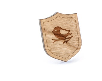 Bird On Branch Lapel Pin, Wooden Pin, Wooden Lapel, Gift For Him or Her, Wedding Gifts, Groomsman Gifts, and Personalized