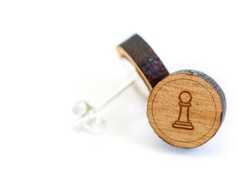Chess Pawn Stud Earring, Wooden Earring, Gift For Him or Her, Wedding Gifts, Groomsman Gifts, Bridesmaid Gifts, and Personalized