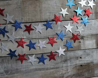 4th of July Party Decoration, Red White and Blue Star Garland, USA Picture Backdrop, Patriotic Bunting, Independence Day Banner, Summer BBQ