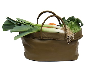 large leather bag, greenery / family shopping bag / week end in buy handmade